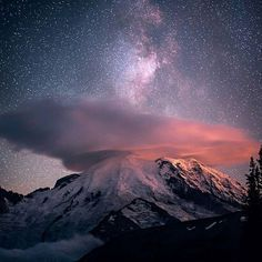 Lenticular Cloud and Milky Way over St. Rainer Washington  by awesomeworlddestinations
