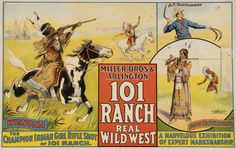 Beautiful, action packed 101 Ranch Wild West Poster. c. 1914.