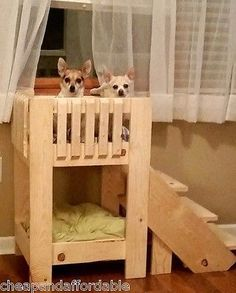 Handcrafted-Dog-Bunk-bed-w-stairs-Unfinished-Pine-Quality-wood