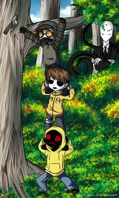 """Ticci Toby: """"My hatchet!""""  Masky: """"Hurry up, Rogers!""""  Hoodie: """"My back...ow.""""  Ticci Toby: """"Watch it Timothy!""""  Masky: """"You are such an idiot.""""  Hoodie: """"Why didn't you ask Slender, Toby?"""""""