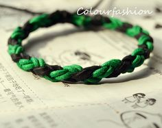 Christmas Gift, Winter Popular trend Tiny Style Green Cotton Cord Nature Leather Braid Woven Together Stylish Adjustable Wrap Bracelet S-40 on Wanelo