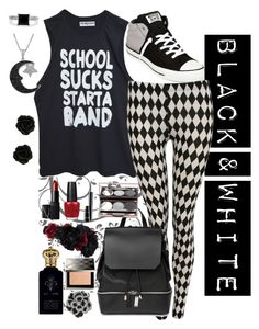 """""""Black & White"""" by ghostlover1235 ❤ liked on Polyvore featuring Converse, WALL, High Heels Suicide, COSTUME NATIONAL, NARS Cosmetics, OPI, MAC Cosmetics, Nude by Nature, Clive Christian and Accessorize"""