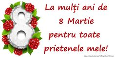 8 Martie La mulți ani de 8 Martie pentru toate prietenele mele! Happy Woman Day, Happy Women, 8 Martie, 8th Of March, Christmas Ornaments, Holiday Decor, Christmas Jewelry, Christmas Baubles, Christmas Decorations