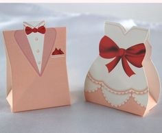 100pcs/lot Bride And Groom Suit Wedding Candy Boxes - Wedding Look