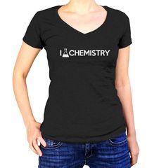 Women's I Love Chemistry Vneck T-Shirt - Juniors Fit