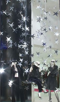 stars hanging from the ceiling- with a nice shiny cardstock..