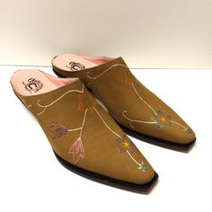 d52bee16ae4 Charlie 1 Horse Lucchese Leather Cowgirl Shooties Mules Shoes Size 9.5  Floral