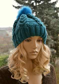 Knitted cap in fur pompom cap / hat lovely warm by DosiakStyle ♡ ♡