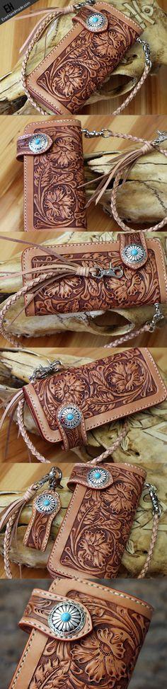 Handmade leather floral carved biker wallet chian bifold Long wallet p | EverHandmade