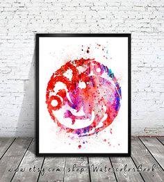 House Targaryen  Watercolor Print Game Of by WatercolorBook