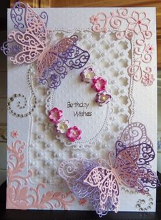 spellbinders and tattered lace butterfly card Tattered Lace Cards, Spellbinders Cards, Scrapbooking, Card Book, Butterfly Crafts, Beautiful Handmade Cards, Create And Craft, Creative Cards, Greeting Cards Handmade