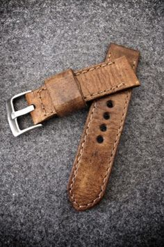 """Jones"" brown handmade leather watch strap, Bas and Lokes"