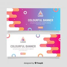 Colorful circles banner template Free Vector