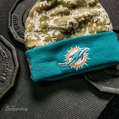 Men s New Era Camo Miami Dolphins 2015 Salute to Service On Field Cuffed  Knit Hat 5670af410