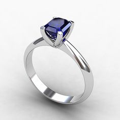 Blue sapphire ring, 18k White Gold, Blue engagement, Solitaire, Blue sapphire, Blue, Wedding ring, White gold engagement, Birthstone. $1,900.00, via Etsy.