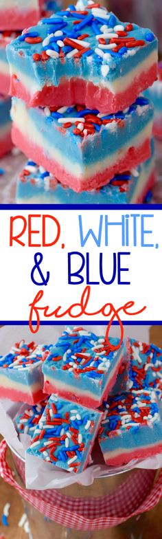 This Red White and Blue Fudge is super simple to make in the microwave, but it is a showstopper! This Red White and Blue Fudge is super simple to make in the microwave, but it is a showstopper! 4th Of July Desserts, Fourth Of July Food, July 4th, Fudge Recipes, Candy Recipes, Dessert Recipes, Snack Recipes, Yummy Treats, Delicious Desserts