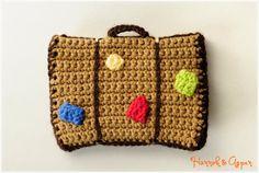 A suitcase  Crochet passport cover  Passport by HannahandAspen, $14.00