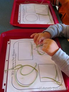 Making shapes with cooked, colored spaghetti.  This blog has lots of activities for preschoolers.