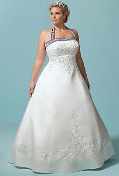 Embroidered and beaded halter strap wedding dresses can be casual and dressy at the same time. Take this floor length halter embroidered and beaded wedding dress for example. It provides the beautiful classiness coupled with the touch of casualness and fun with the color accent on the halter. Explore your options at Just My Size Wedding Dress today!