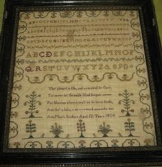 Framed Antique Sampler 1824 by Ann Maria Sanders 12 years old