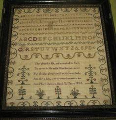 Framed Antique Sampler 1824 by Ann Maria Sanders 12 years old