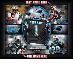 Carolina Panthers NFL Football - Personalized Action Collage Print / Picture. Have you or someone you know ever dreamed about playing next to your favorite Carolina Panthers players. You or someone you know can be right there in the locker room with Carolina Panthers players! Optional framing with mat is available. Perfect for gifts, rec room, man cave, office, child's room, etc. ( www.oakhousesportsprints.com )