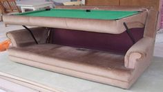 Sofa designers have recently invented a new kind of sofa, which is ideal for people, who love to play pool, but due to lack of space cannot afford
