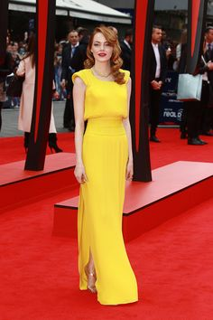 Emma Stone in Atelier Versace gown | London Premiere of The Amazing Spiderman 2 |