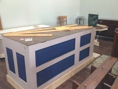Checkout counter from old doors