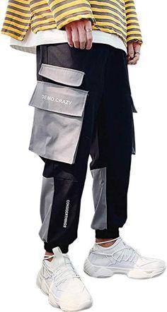 1e4cdf884c Amazon.com: MOKEWEN Men's Two Tone Patchwork Color Jogger Harem Cargo Ninth  Pants with