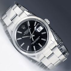 Men's Rolex 34MM Oyster Date Stainless Steel Black Dial 15000