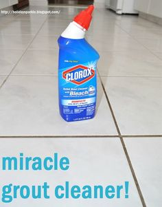 The best grout cleaner is Clorox Toilet Bowl Cleaner with Bleach. There really is no trick to doing this. Simply take your Clorox cleaner (its a gel, so it pours perfectly into the grout lines) Let sit 10 minutes. hard plastic bristle brush and lightly s Household Cleaning Tips, House Cleaning Tips, Diy Cleaning Products, Cleaning Solutions, Spring Cleaning, Cleaning Hacks, Cleaning Supplies, Deep Cleaning, Cleaners Homemade