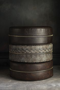 FAUX REPTILE SKIN POUFFE FROM OUR 'SAVAGE' COLLECTION Luxury round stackable reptile skin pouffe /floor cushions upholstered in faux snake & croc skins. Bold and tactile they add a glamorous statement to any room! Great space savers.  SET OF 3 POUFFES - Brown Croc Skin - Sand  Snakeskin - Brown Snakeskin