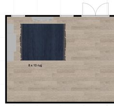 family room plan with 8x10 rug. i think its not big enough...