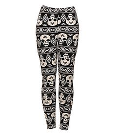Another great find on #zulily! Black & White Skull Leggings #zulilyfinds