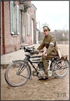 Cpl R.E Signals Section Despatch Rider & Triumph 'H' motorbike in Vignacourt, Picardy c1916