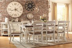 Marsilona two tone brown and white dining room table and chair set