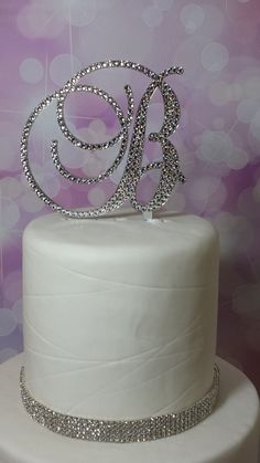 5 Tall Keepsake Removable Stakes Swarovski Crystal Cake Topper Monogram Initial by SpectacularEvents, $70.00
