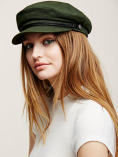 Alexa Lieutenant Hat | Herringbone lieutenant's cap with braided band and nautical buttons. Lined.