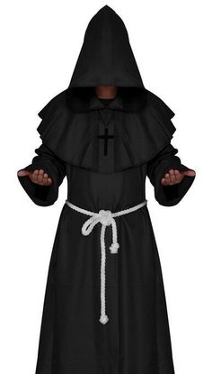 fbd3913307 Monk Hooded Robes Cloak Cape Friar Medieval Renaissance Priest Cosplay  Halloween Costumes For Women. Black Hooded RobeVintage ...