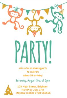 """Childrens Party""  printable invitation template. Customize, add text and photos. Print or download for free!"