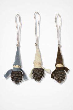 Pinecone Elf Ornaments, Multi