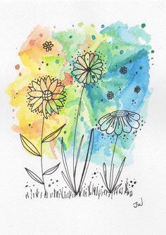 Geburtstagskarte Art doodle art for beginners Geburtstagskarte Doodle Art Letters, Doodle Art Journals, Watercolor And Ink, Watercolor Flowers, Watercolor Paintings, Doodle Art Drawing, Art Drawings, Doodle Doodle, Art Sketches