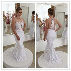 White mermaid backless lace applique long floor-length Prom Dresses Gown special high quality,Cheap prom gown BD1705625