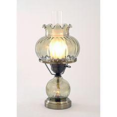 Hurricane With Rhombus Optic Green Glass Lamp