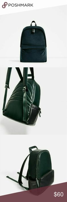 Zara Urban Green/Black Bookbag Backpack Edgy with a functional design, this backpack will carry the weight of life's shoulders in style.   The hidden stitching and spacious pockets make it easy to covertly transport, for everyday use. Zara Bags Backpacks