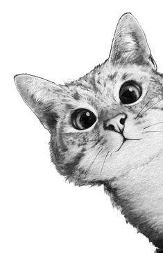 cat art sneaky cat by lauragraves Super Cute Kittens, Kittens Cutest, Cats And Kittens, Cute Cats, Tabby Cats, Kitty Cats, Sneaky Cat, Kitten Wallpaper, Wallpaper Wallpapers