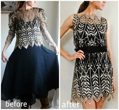 80's Dress Sewn Lace Cocktail.