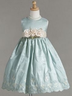 Aqua Embroidered Crinkled Taffeta Dress