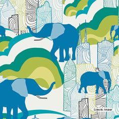 Jungle Ave Sara Lawson Elephant Skyline Knit Sara Lawson Jungle Ave Elephant Skyline Knit cotton interlock fabric for dressmaking from Eclectic Maker [KNI-720] : Patchwork, quilting and dressmaking fabric, patterns, haberdashery and notions from Fabric for Patchwork, Quilting and Dressmaking from Eclectic Maker
